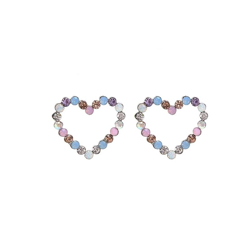 Multicolored Rhinestone Heart Stud Earrings
