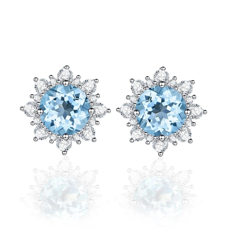 Luxe Natural Sky Blue Topaz Flower Stud Earrings