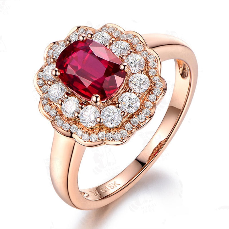 KP Flower Ruby Engagement Ring