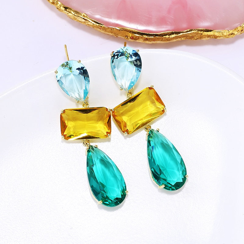 Monteverde Geometric Multi-Colored Drop Earrings