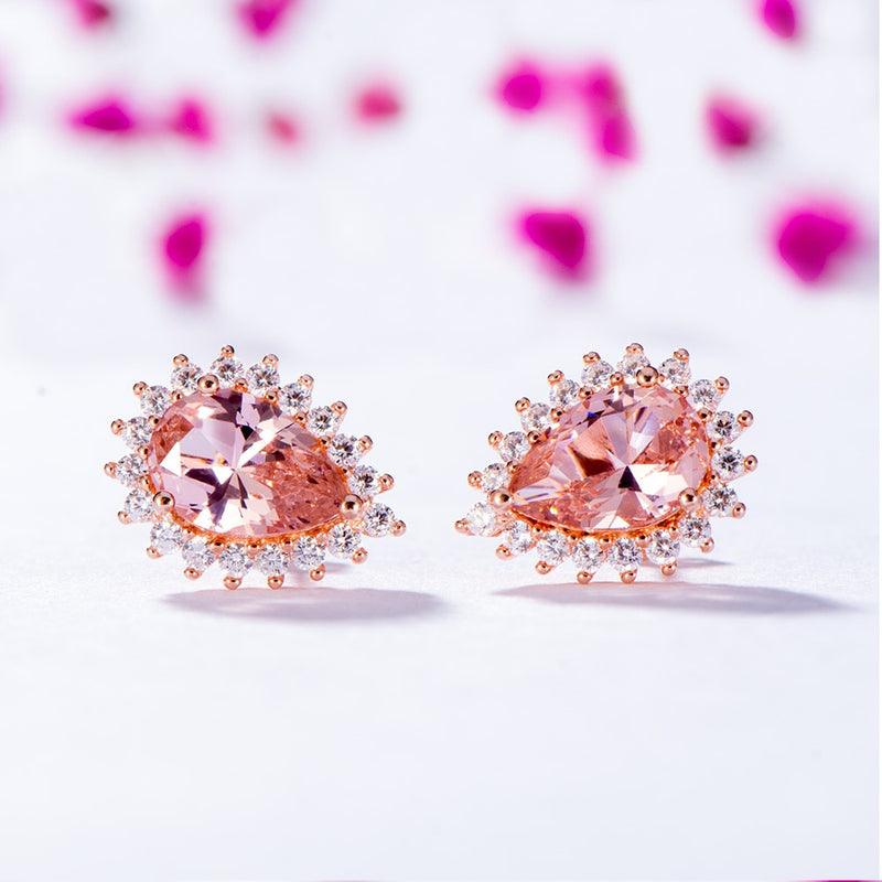 Pear-Shaped Morganite Rose Gold Stud Earrings