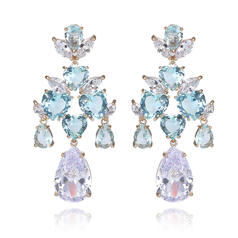 Crystal Water Drop Chandelier Earrings