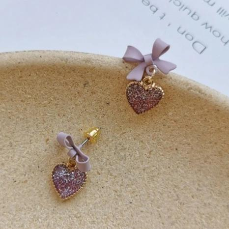 Sugar Plum Drusy Heart Stud Drop Earrings