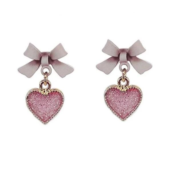 Spring Love Heart-Shaped Stud Drop Earrings