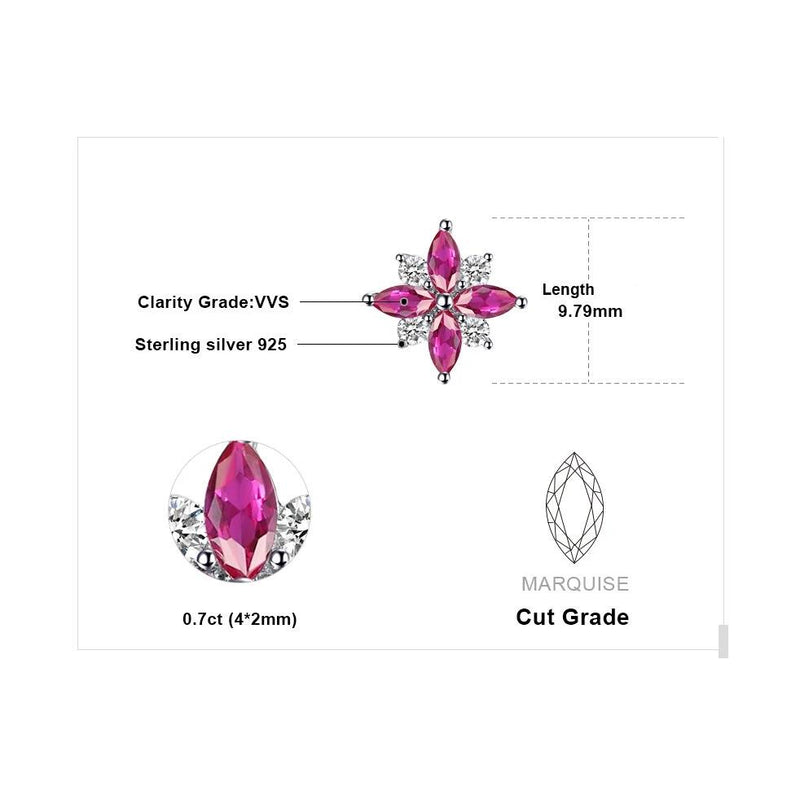 Pink Lily Flower Ruby Stud Earrings