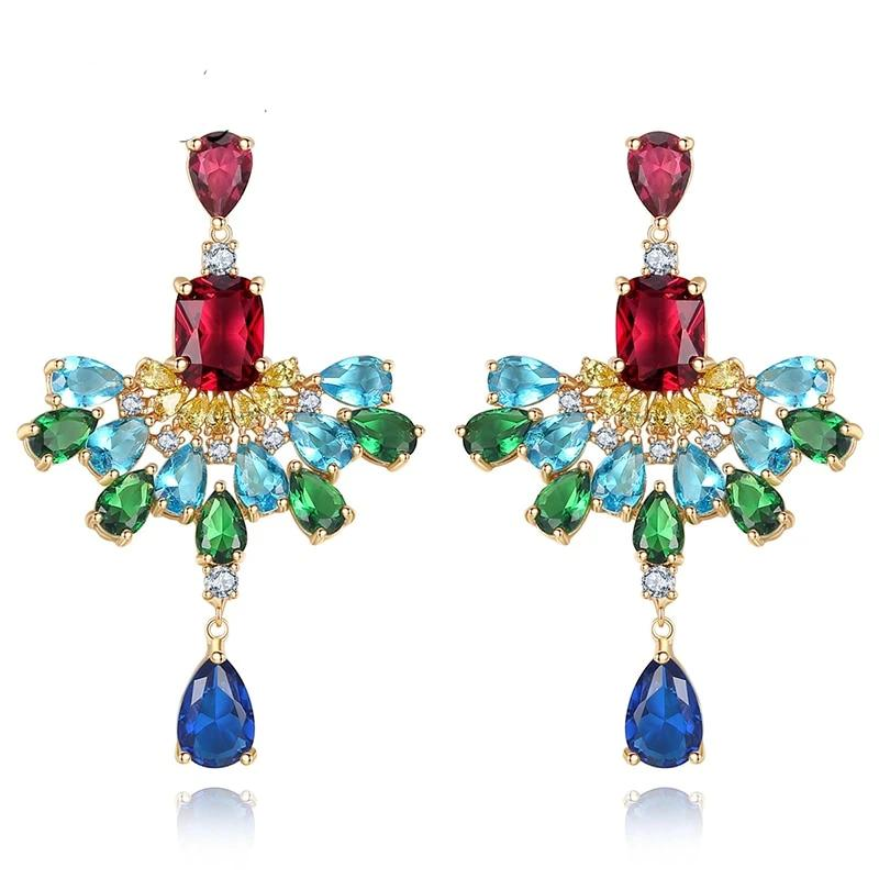 Macaw Hyperbole Multicolor Crystal Drop Earrings