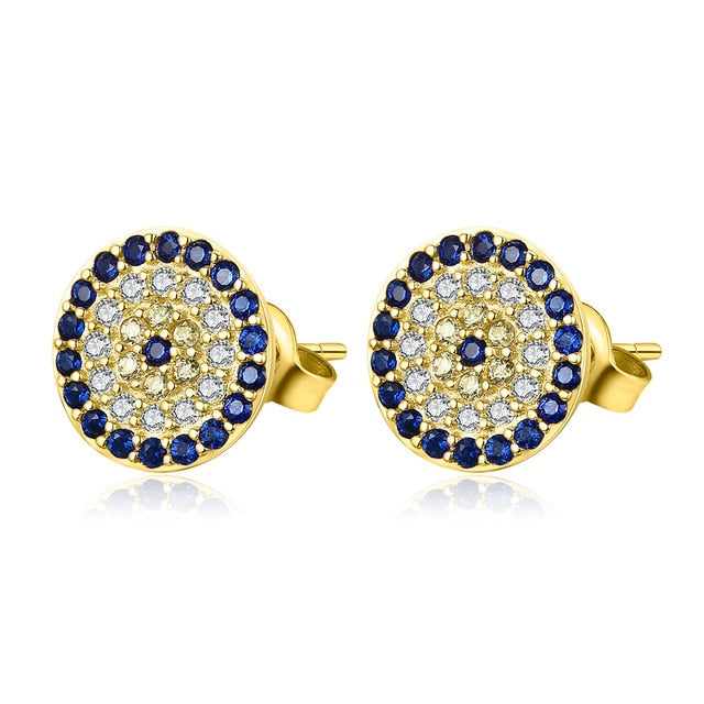 Gold Evil Eye Stud Earrings