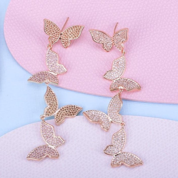 Pink Butterfly Drop Earrings