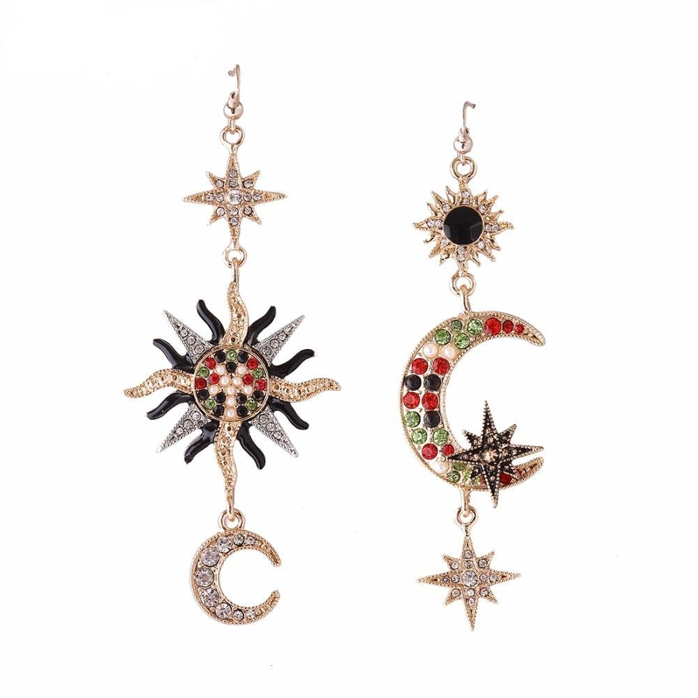 Sun Moon Rhinestone Statement Earrings