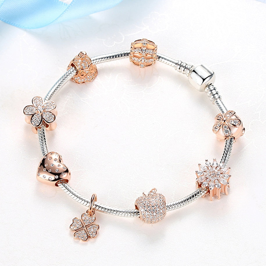 Rose Gold Sparkling Heart Charm