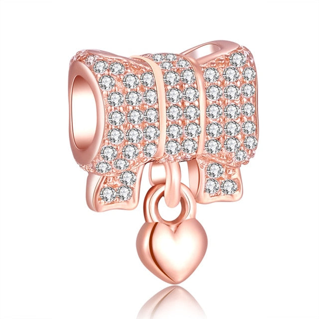 Rose Gold Charm Bead Bow