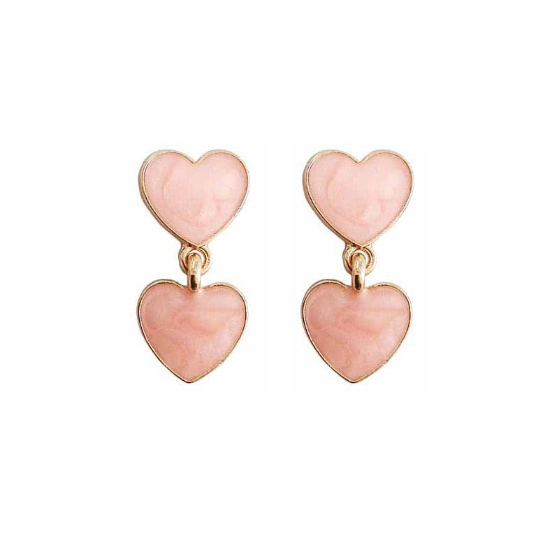 Pink Heart Shaped Stud Drop Earrings
