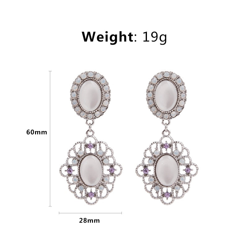 Vintage Flower Fashion Drop Earrings