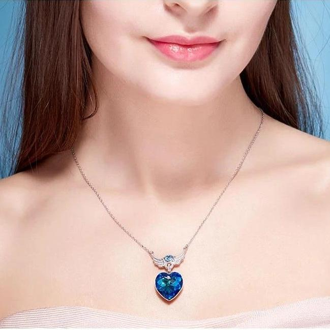 Swarovski Crystal Heart of Guardian Necklace Earrings Set