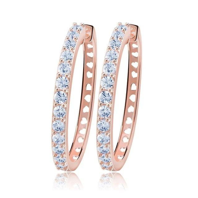 Rose Gold Big Crystal Hoop Earrings