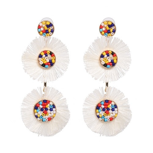 Flora Multicolor Fashion Bead Circular Drop Earrings