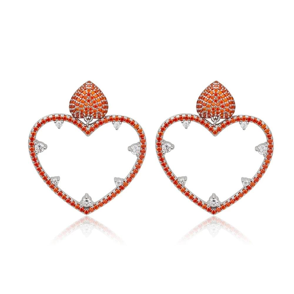 Red Heart Crystal Statement Earrings