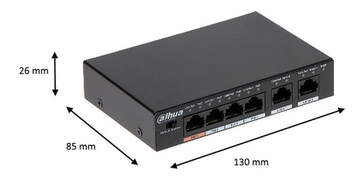 DAHUA PFS3006-4ET-60 - SWITCH POE 4 PUERTOS/ 2 PUERTOS UPLINK ETHERNET/ SWITCHING 1.8G/ 60 WATTS/ SOPORTA IEEE 802.3AF/ IEEE 802.3AT/ HI-POE-Switches PoE-DAHUA-DRD182001-Bsai Seguridad & Controles