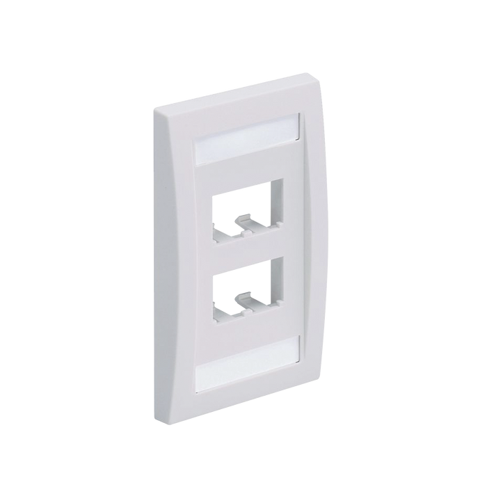 PLACA DE PARED VERTICAL EJECUTIVA, SALIDA PARA 4 PUERTOS MINI-COM, CON ESPACIOS PARA ETIQUETAS, COLOR BLANCO-Faceplates-PANDUIT-CFPE4WHY-Bsai Seguridad & Controles