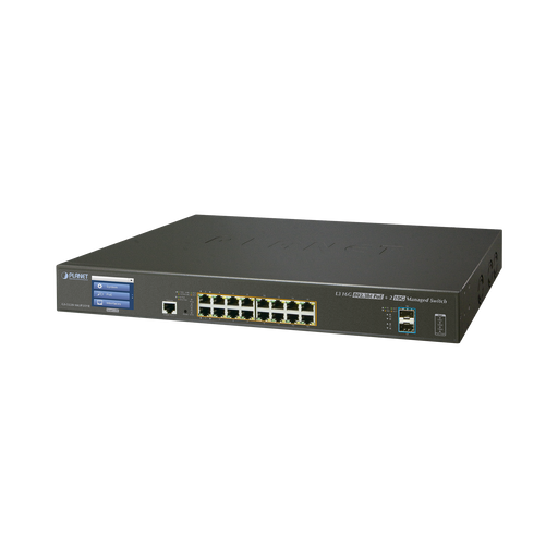 SWITCH ADMINISTRABLE L3 16 PUERTOS GIGABIT C/POE 802.3BT, 2 PUERTOS 10G SFP+ CON PANTALLA TACTIL (400W)-PoE de Largo Alcance-PLANET-GS-5220-16UP2XV-Bsai Seguridad & Controles