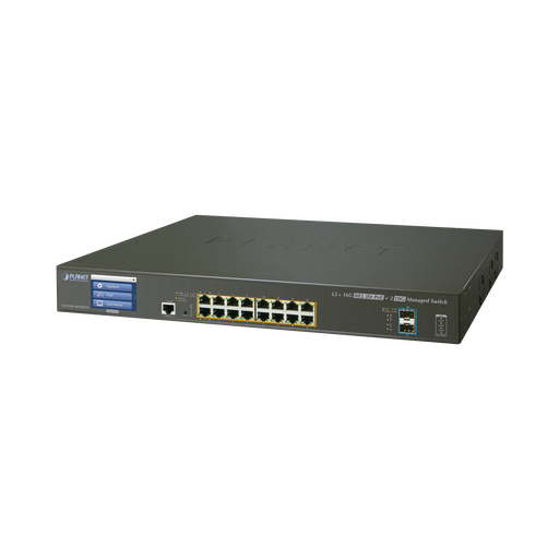 SWITCH ADMINISTRABLE L3 16 PUERTOS GIGABIT C/POE 802.3BT, 2 PUERTOS 10G SFP+ CON PANTALLA TACTIL (400W)-PoE de Largo Alcance-PLANET-GS-5220-16UP2XVR-Bsai Seguridad & Controles