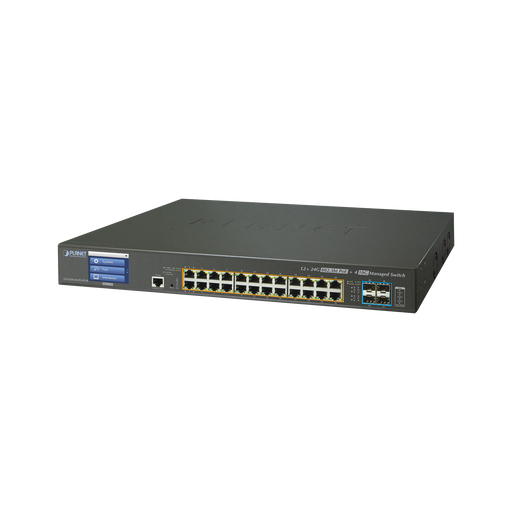 SWITCH ADMINISTRABLE L3 24 PUERTOS 10/100/1000 MBPS C/ULTRA POE 400 WATTS, 4 PUERTOS 10G SFP+-PoE de Largo Alcance-PLANET-GS-5220-24UP4X-Bsai Seguridad & Controles