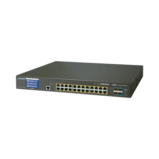 SWITCH ADMINISTRABLE L2+ 24 PUERTOS GIGABIT C/ ULTRA POE, 4 PUERTOS 10G SFP, C/DISPLAY, (600W)-PoE de Largo Alcance-PLANET-GS-5220-24UPL4XV-Bsai Seguridad & Controles