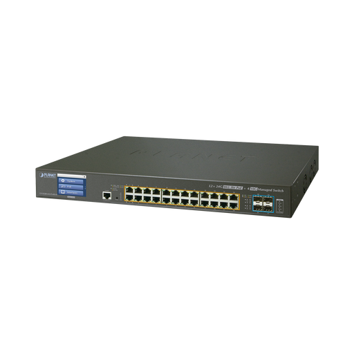 SWITCH ADMINISTRABLE L2+ 24 PUERTOS GIGABIT C/ ULTRA POE, 4 PUERTOS 10G SFP, C/DISPLAY, FUENTE REDUNDANTE (600W)-PoE de Largo Alcance-PLANET-GS-5220-24UPL4XVR-Bsai Seguridad & Controles