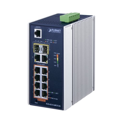 SWITCH INDUSTRIAL ADMINISTRABLE L2 DE 8 PUERTOS GIGABIT C/POE 802.3AT + 2 PUERTOS GIGABIT + 2 PUERTOS SFP (240W)-PoE de Largo Alcance-PLANET-IGS-4215-8P2T2S-Bsai Seguridad & Controles