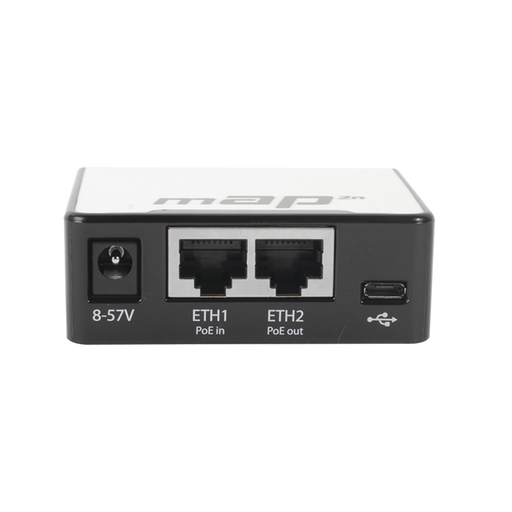 (MAP 2N) 2 PUERTOS FAST ETHERNET, 1 PUERTO MICROUSB, WIFI 2.4 GHZ 802.11 B/G/N-Redes WiFi-MIKROTIK-RBMAP2N-Bsai Seguridad & Controles