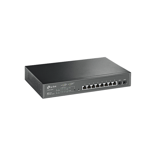 SMART SWITCH POE+ JETSTREAM ADMINISTRABLE CAPA 2, 8 PUERTOS 10/100/1000 MBPS + 2 PUERTOS SFP 116 W-Switches-TP-LINK-T1500G-10MPS-Bsai Seguridad & Controles