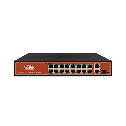 SWITCH FAST-ETHERNET POE NO ADMINISTRABLE DE LARGO ALCANCE, HASTA 250M, CON 16 X 10/100MBPS + 2 X 100/1000MBPS + 1 X SFP, 200 W-Switches PoE-WI-TEK-WI-PS518G-Bsai Seguridad & Controles
