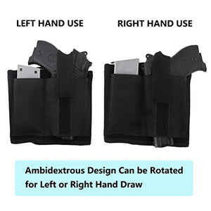 Neoprene Ankle Holster with Padding for Concealed Carry, Spare Magazine Pouch & Extra Elastic Secure Strap for Pistol Concealment for Women Men Fits for Small to Medium Frame Pistols and Revolver