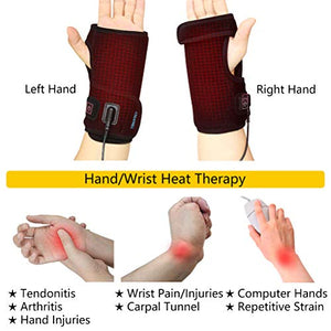 CREATRILL Hand & Wrist Heated Wrap with 3 Level Controller - Brace with Pads for Moist Heat Therapy