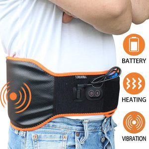 CREATRILL Cordless Heating & Massage Waist Belt Wrap/Portable Lower Back Heat Therapy Heated Pad / 7.4V Rechargeable Battery for Pain Relief of Abdominal Stomach Lumbar Muscle Strain/Men Women