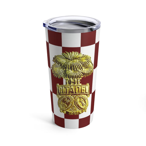 Checkerboard Shako Brass Tumbler 20oz
