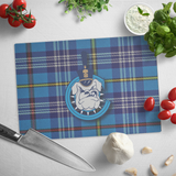 Spike with Tartan Background Glass Cutting Board