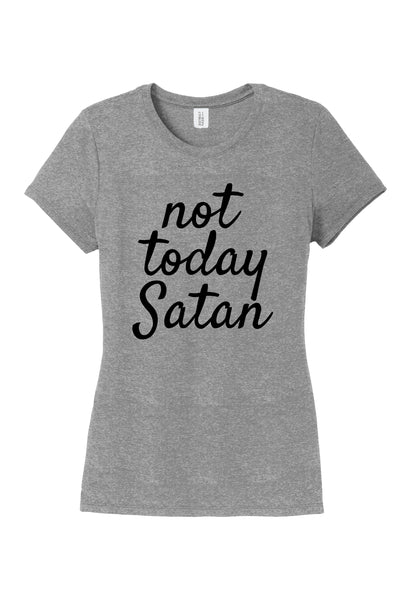 TKO Tees - Not today Satan women's T-shirt in grey.
