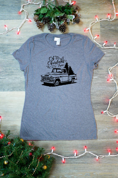 TKO Tees - 'Oh Christmas Tree Pickup Truck' ladies' tri-blend tee.