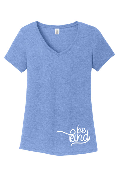 TKO Tees - 'Be Kind Corner' ladies' tri-blend V-neck T-shirt.