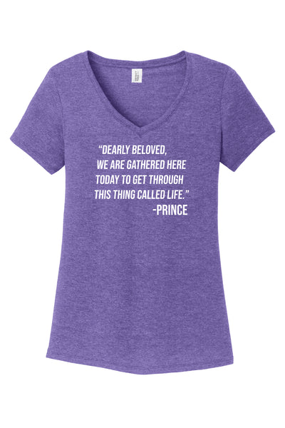 Musician Prince Lyrics Women's V-neck T-Shirt in Purple