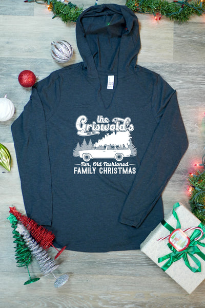 TKO Tees - 'The Griswolds' Fun, Old-Fashioned Family Christmas' ladies' long-sleeve hoodie.