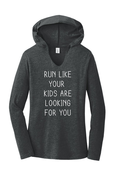 TKO Tees - 'Run Like Your Kids are Looking for You' ladies' long-sleeve hoodie.