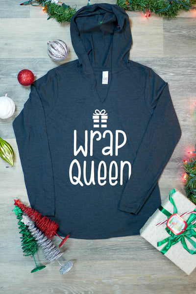TKO Tees - 'Wrap Queen' ladies' long-sleeve hoodie.