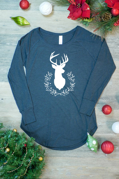 TKO Tees - 'Deer Wreath' ladies' long-sleeve tunic.