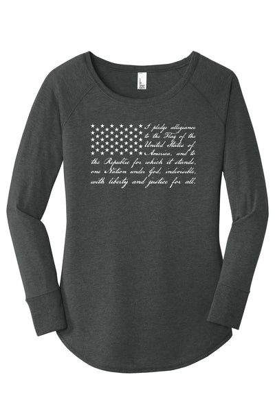 TKO Tees - 'Pledge of Allegiance Flag' ladies' long-sleeve tunic.