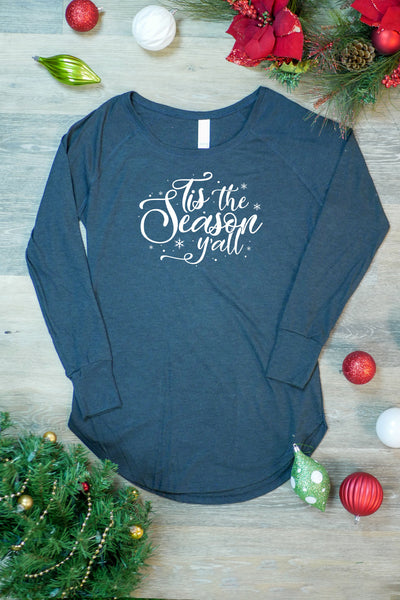 TKO Tees - 'Tis the Season Y'all' ladies' long-sleeve tunic.