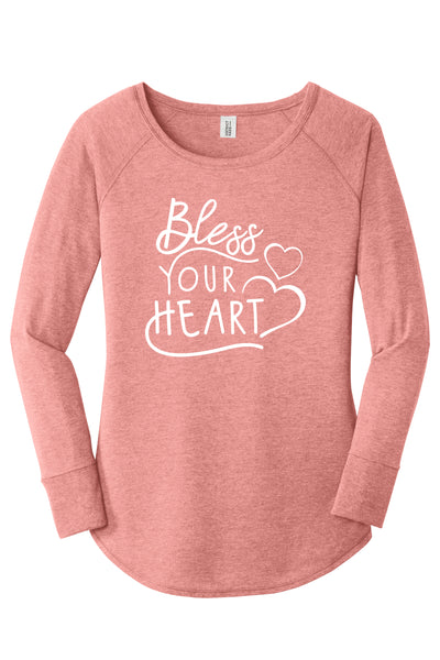 TKO Tees - 'Bless Your Heart ladies' long-sleeve tunic.