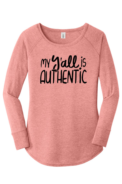 TKO Tees - 'My Y'all is Authentic' ladies' long-sleeve tunic.