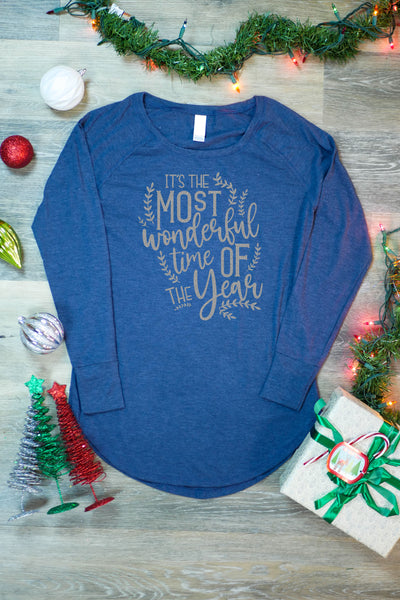 TKO Tees - 'It's the Most Wonderful Time of the Year' ladies' long-sleeve tunic.